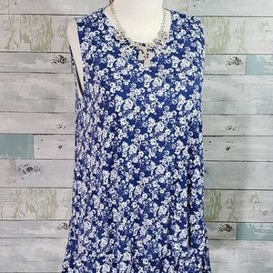 Tiered Tunic By A&D Navy/White Floral